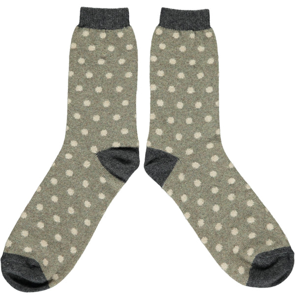 Men's Sage Dot Lambswool Ankle Socks