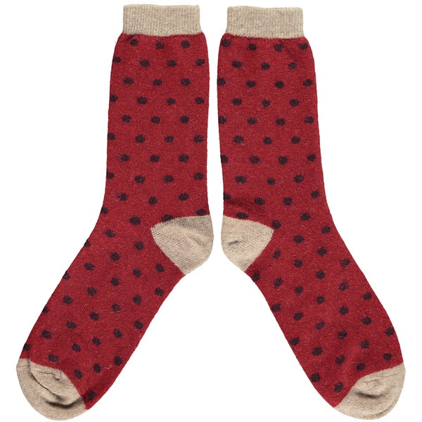Men's Red Dot Lambswool Ankle Socks