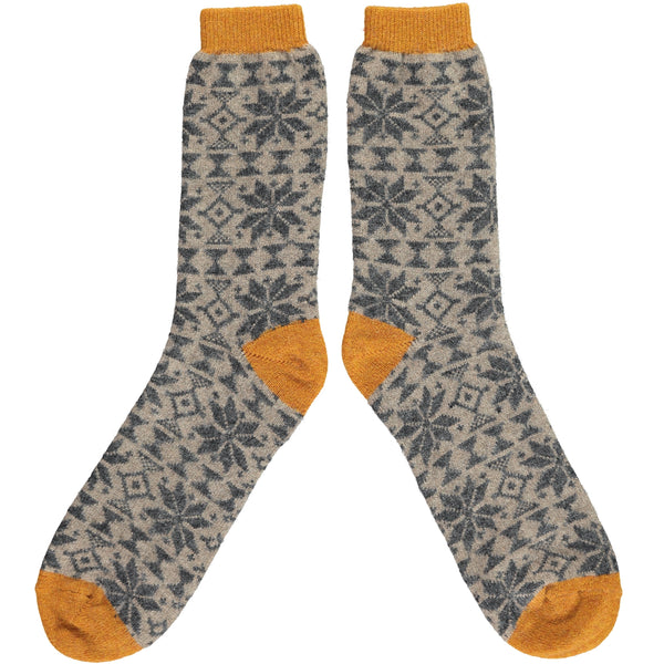 Men's Ginger Fair Isle Lambswool Ankle Socks