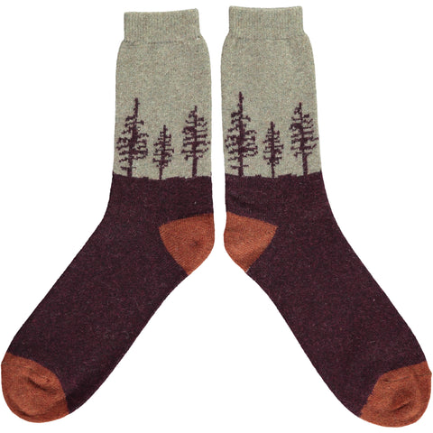 Men's Aniseed Forest Lambswool Ankle Socks