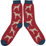 Men's Dark Red Hound Lambswool Ankle Socks
