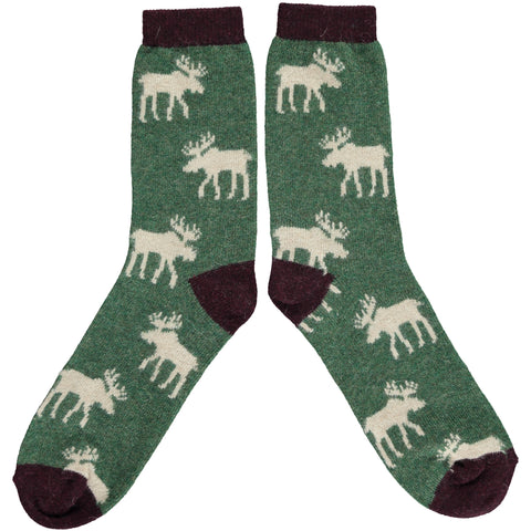 ANKLE SOCKS WOOL MENS - moose green