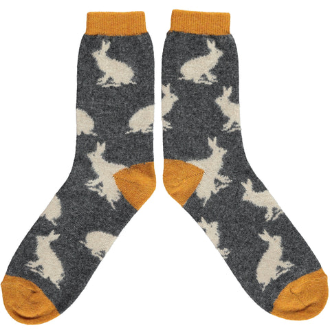 ANKLE SOCKS WOOL MENS - rabbits charcoal