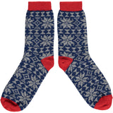 Ladies Grey & Navy Fair Isle Lambswool Ankle Socks
