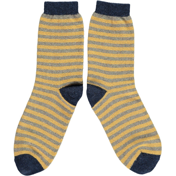 Ladies Sage & Gold Stripe Lambswool Ankle Socks