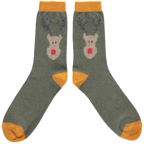Men's Green Reindeer Lambswool Ankle Socks