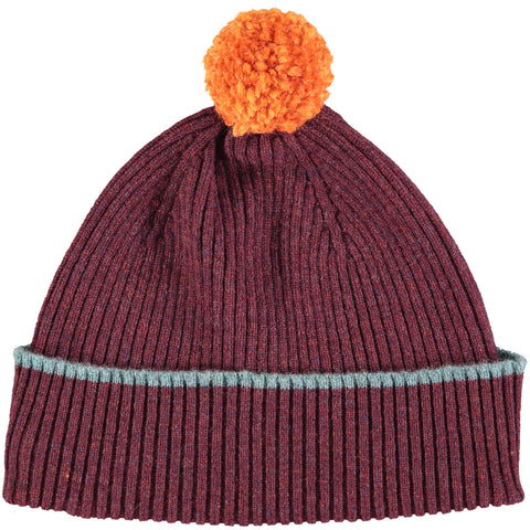 Aubergine Bobble Hat - Orange Pom Pom