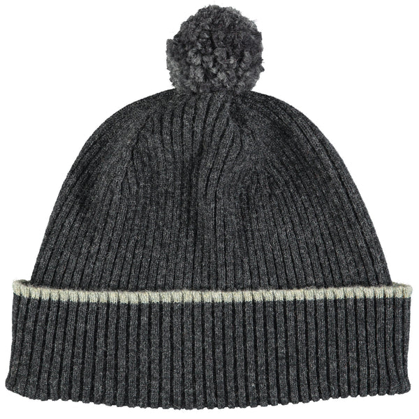 Charcoal Bobble Hat - Charcoal Pom Pom