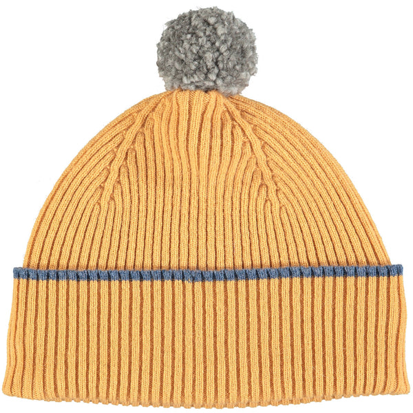 Golden Yellow Bobble Hat - Grey Pom Pom