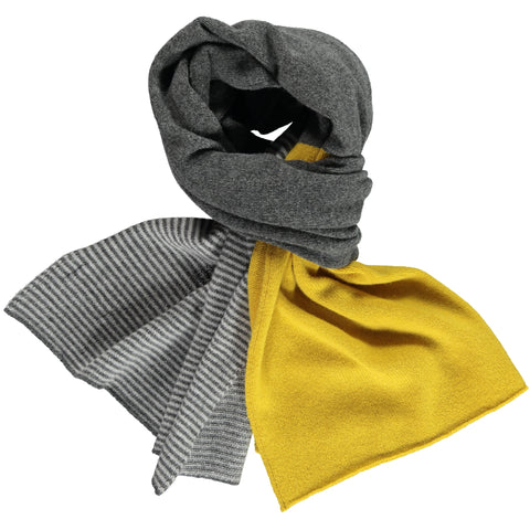 grey block stripe lambswool scarf