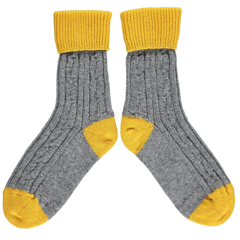 Grey & Yellow Cashmere Soft Socks