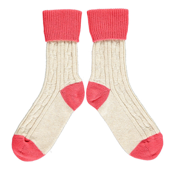 Cream & Coral Cashmere Soft Socks
