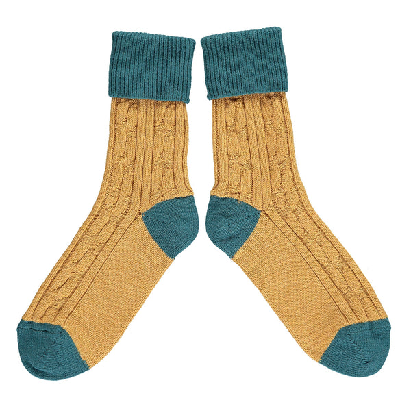 Gold & Teal Cashmere Soft Socks