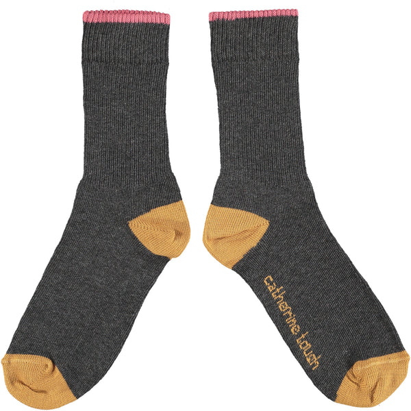 Unisex Cotton Rib Socks - Charcoal Grey