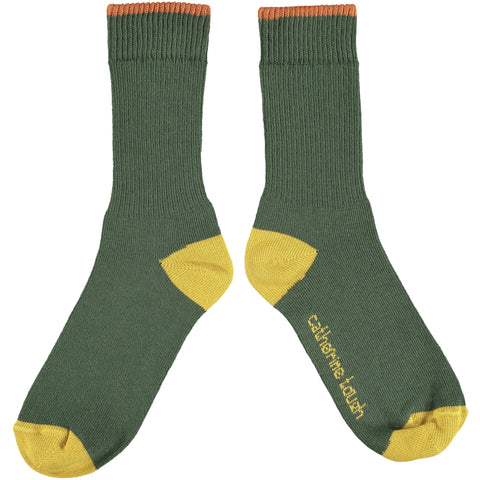 Unisex Cotton Rib Socks - Dark Green
