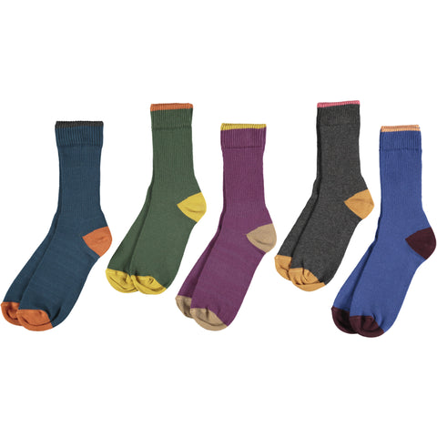 Unisex Cotton Rib Socks - Dark Mix Pack of 5