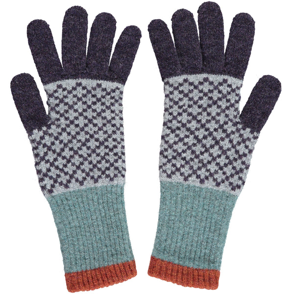 Women's Sage & Aubergine Cross Lambswool Gloves