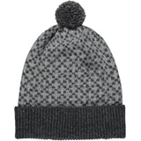 Cross Bobble Hat Dark & Mid-Grey + Grey Pom Pom