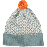 Cross Bobble Hat Sage & Oat + Orange Pom Pom