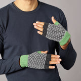 Men's Cross Charcoal & Green Fingerless Lambswool Gloves -SORRY SOLD OUT