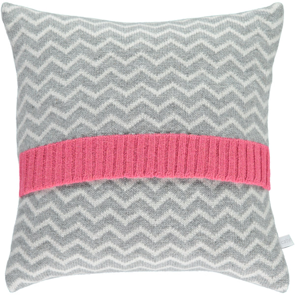 Lambswool Zigzag Grey & Pink Cushion