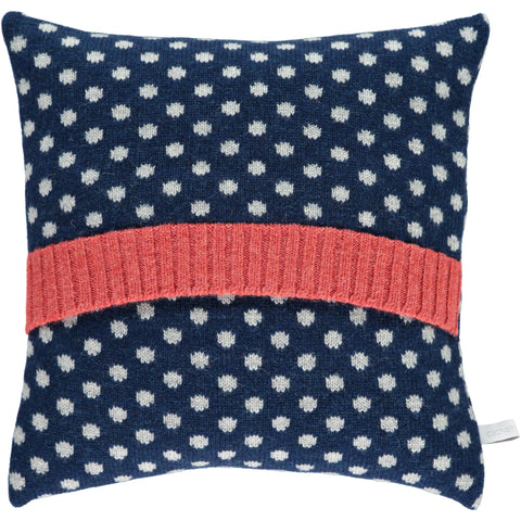 Lambswool Navy  & Grey Dot Cushion