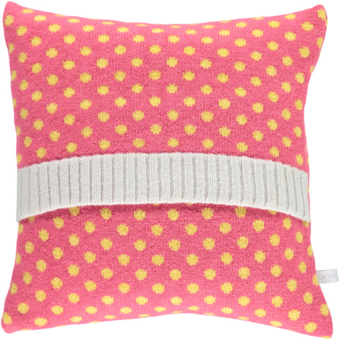 Lambswool Pink & Yellow Dot Cushion