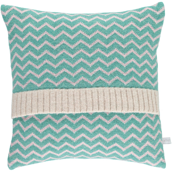 Lambswool Spearmint & Light Pink Zigzag Cushions