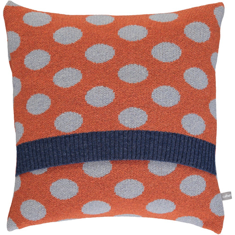 Lambswool Ember & Pale Denim Big Spot Cushion