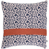 Lambswool Light Pink & Navy Leopard Print Cushion