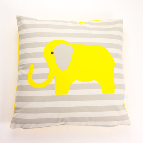 Printed Cotton Yellow Elephant Cushion Cover
