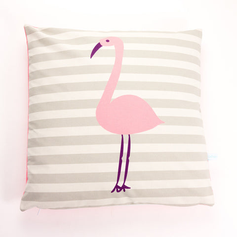 Printed Cotton Pink Flamingo Cushion