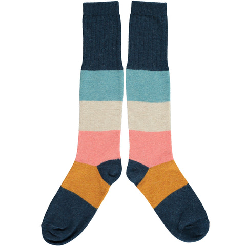 Ladies Lambswool Inky Blue Colour Block Knee Socks