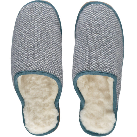 Charcoal Grey Check Lambswool & Sheepskin Slippers
