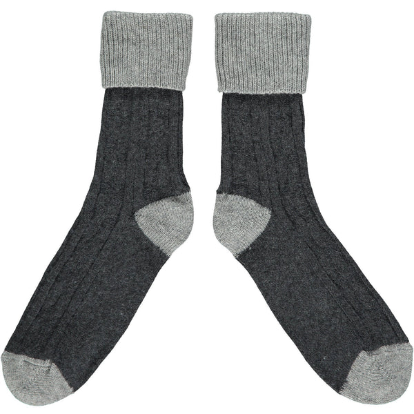 SLOUCH SOCKS - cashmere mix - charcoal/grey
