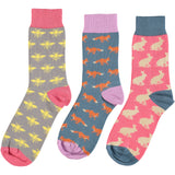 Country Creatures Collection - Women's Cotton Ankle Sock 3 Pack - SAVE 20%