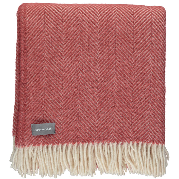 Cranberry Pink Herringbone Wool Throw