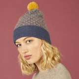 Cross Bobble Hat Denim & Mushroom + Yellow Pom Pom