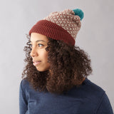 Cross Pattern Cinnamon & Mushroom Lambswool Bobble Hat - SORRY SOLD OUT & DISCONTINUED