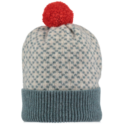 mens sea green cross lamsbwool bobble hat