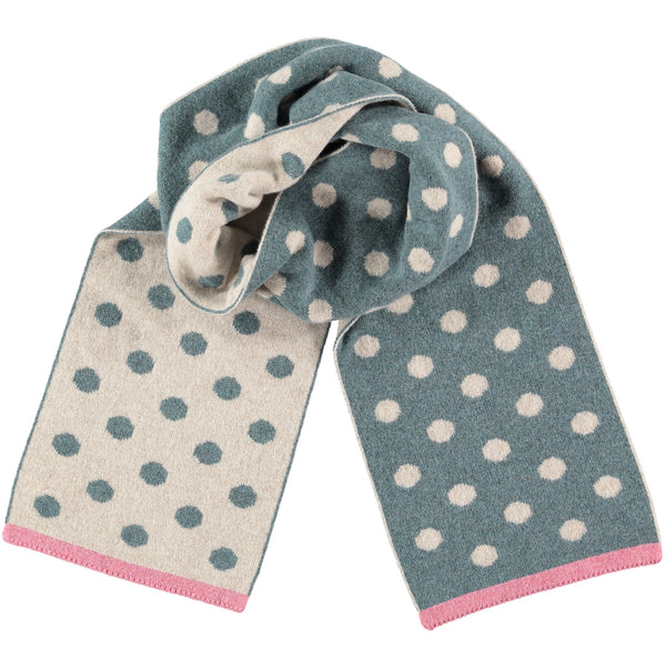 Reversible Polka Dot Sage Green Lambswool Scarf