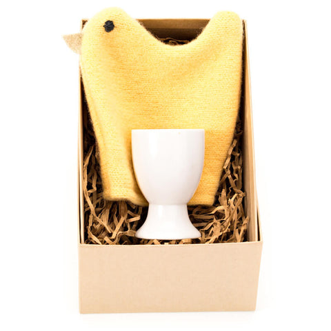 yellow chick egg cosy set