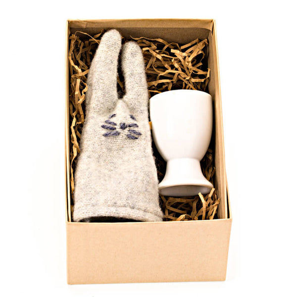 grey rabbit egg cosy set