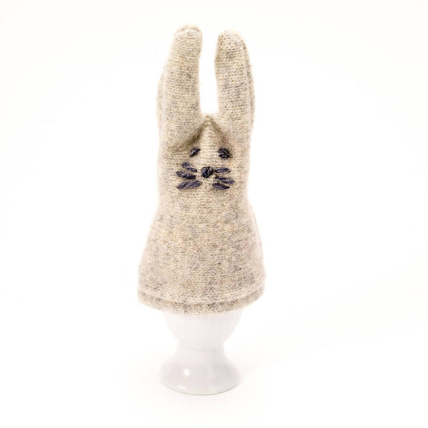 grey rabbit egg cosy