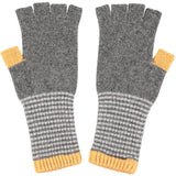 FINGERLESS GLOVES - lambswool -  grey and gold