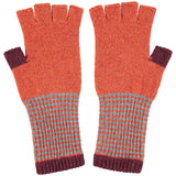 FINGERLESS GLOVES - lambswool -  rust & aubergine