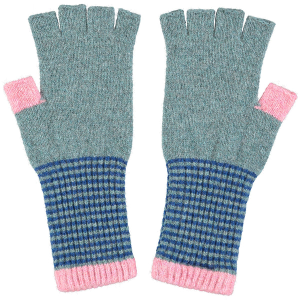 Women's Sage & Blue Fingerless Lambswool Gloves