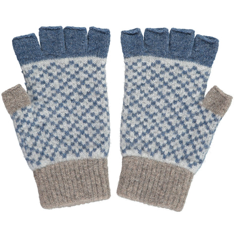 Men's Cross Mushroom & Denim Lambswool Fingerless Gloves