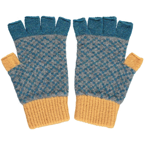 Men's Cross Gold & Petrol Blue Lambswool Fingerless Gloves