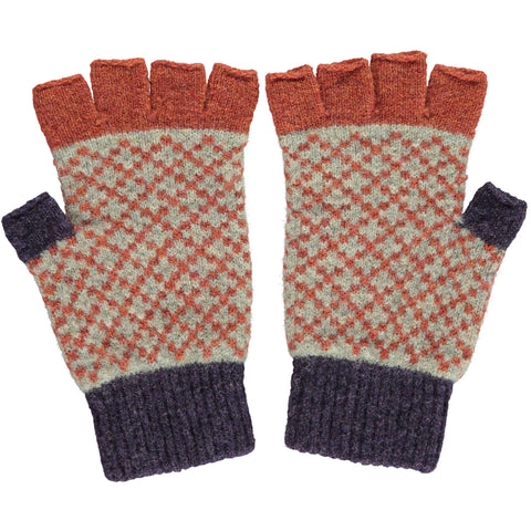 Men's Cross Aubergine & Rust Lambswool Fingerless Gloves